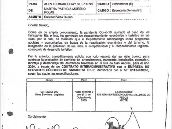 Por 1.550 millones de pesos la Gobernación de San Andrés firmó el contrato para el alumbrado navideño.  Foto: Archivo particular